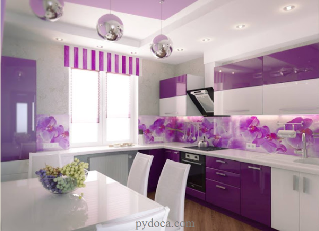 Kính ốp tường bếp in hoa văn đẹp