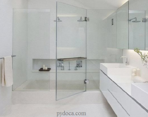 Phòng tắm kính cửa lùa chủ yếu sử dụng kính cường lực