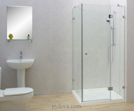 Hình ảnh phòng tắm kính cường lực mở quay 90 độ