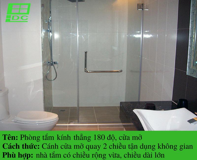 Vách tắm kính thẳng cửa mở