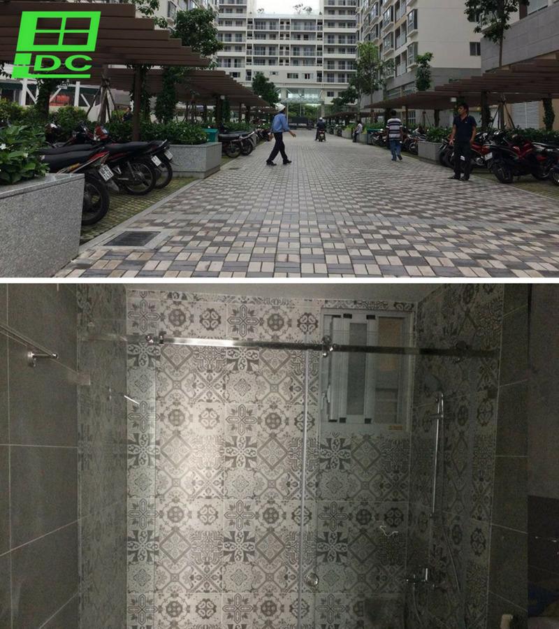 Vach tắm kính cường lực ở Chung cư Scenic Valley