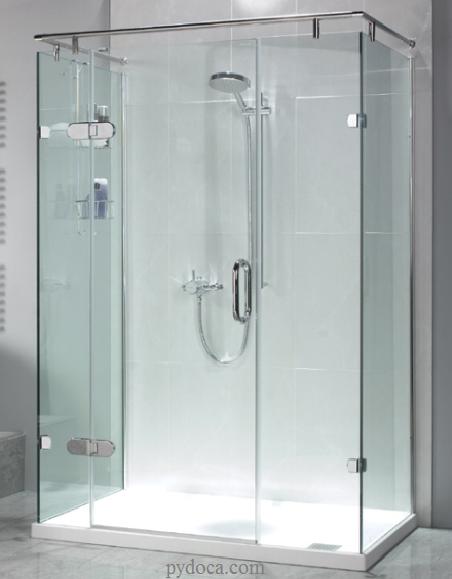 Vách tắm kính góc 90 độ