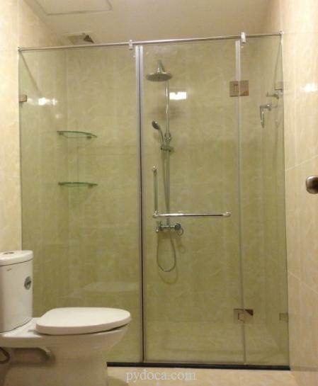 Vách tắm kính mở xoay