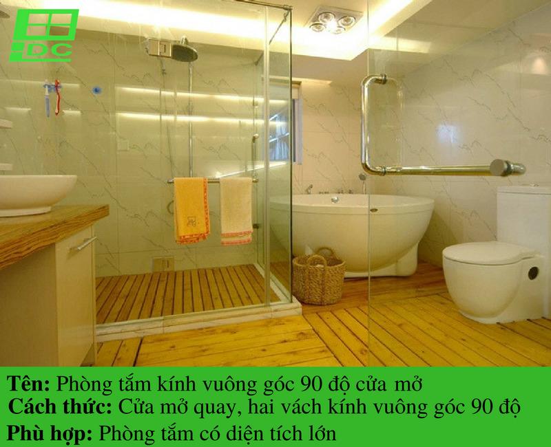 Vách tắm kính cường lực vuông góc 90 độ